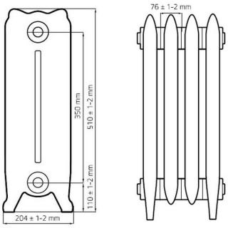 Чугунный ретро радиатор READING 350