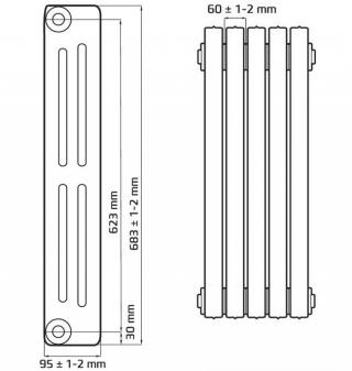 Чугунный ретро радиатор Lille 623/95
