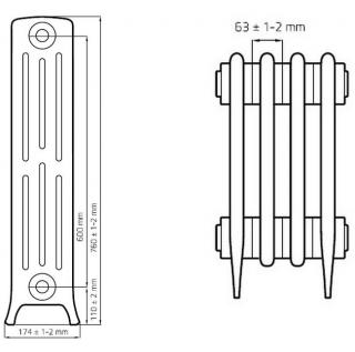 Чугунный ретро радиатор Derby M4 4/600