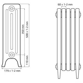 Чугунный ретро радиатор Derby CH 350/160