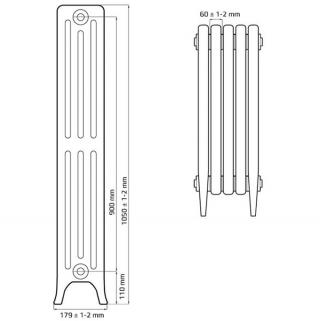 Чугунный ретро радиатор Derby CH 900/160