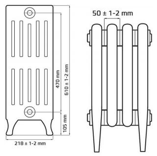 Чугунный ретро радиатор Verdun 470