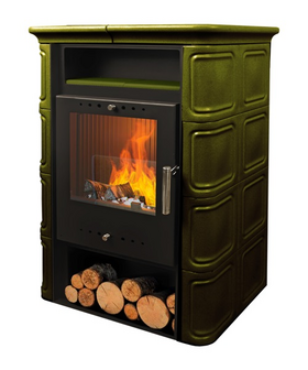 Печь-камин NORDFlam VERA 6 кВт зеленая/капучино/коричневая