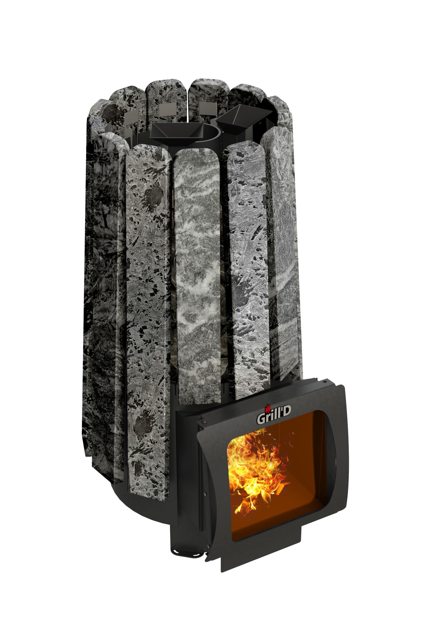 Дровяная банная печь Cometa 180 Vega Short Window Max Stone