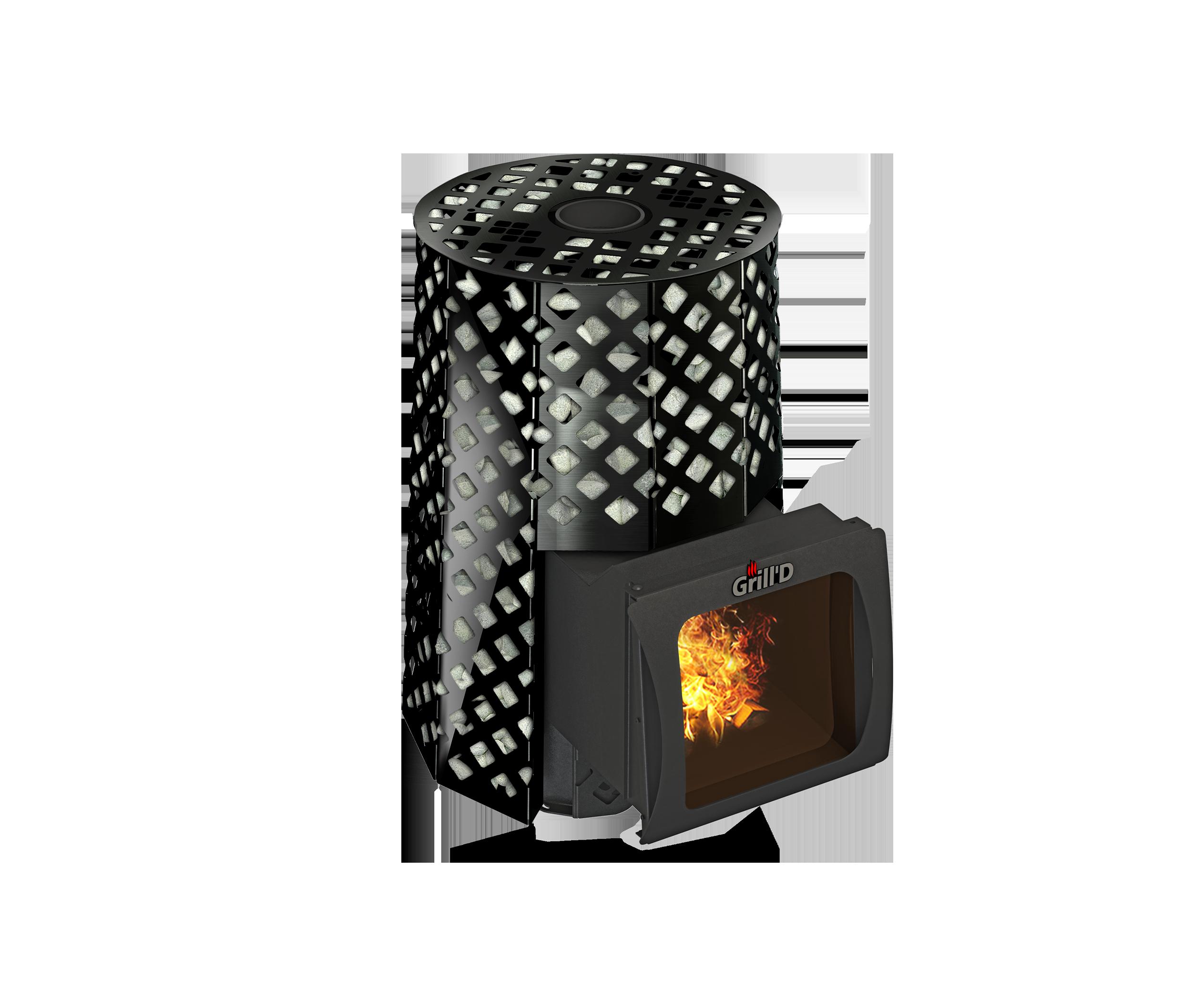 Банная печь длительного горения Violet Romb Short Window Max