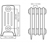Чугунный ретро радиатор Derby M4 4/200