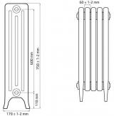 Чугунный ретро радиатор Derby CH 600/160